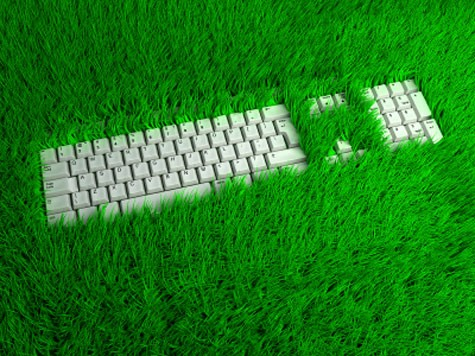keyboard in grass