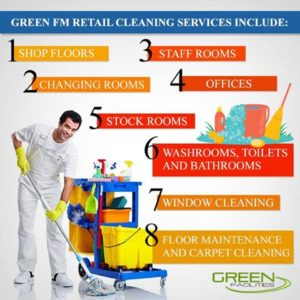 Retail store cleaning, where appearance is important